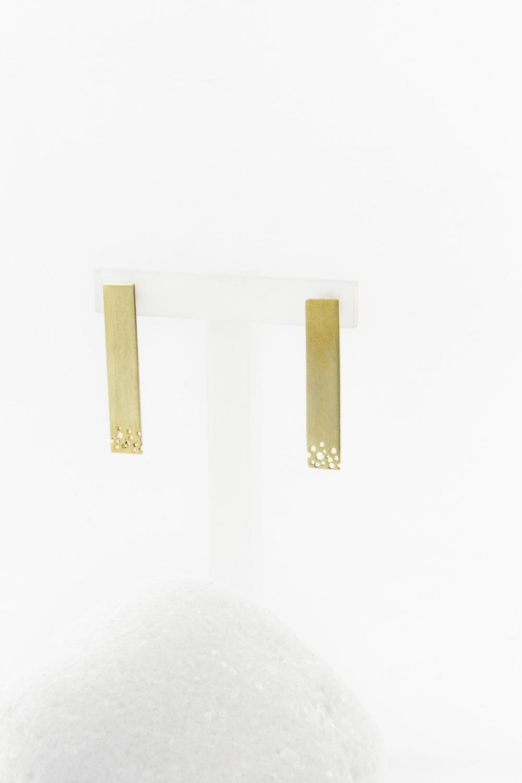 Earrings Rec Perfor, Gold