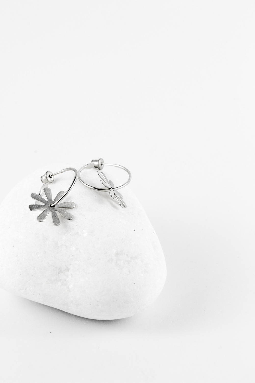 Earrings Flower, Silver