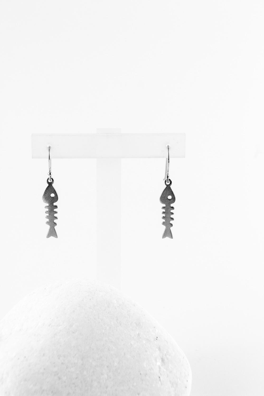 Earrings Fishbone, Silver