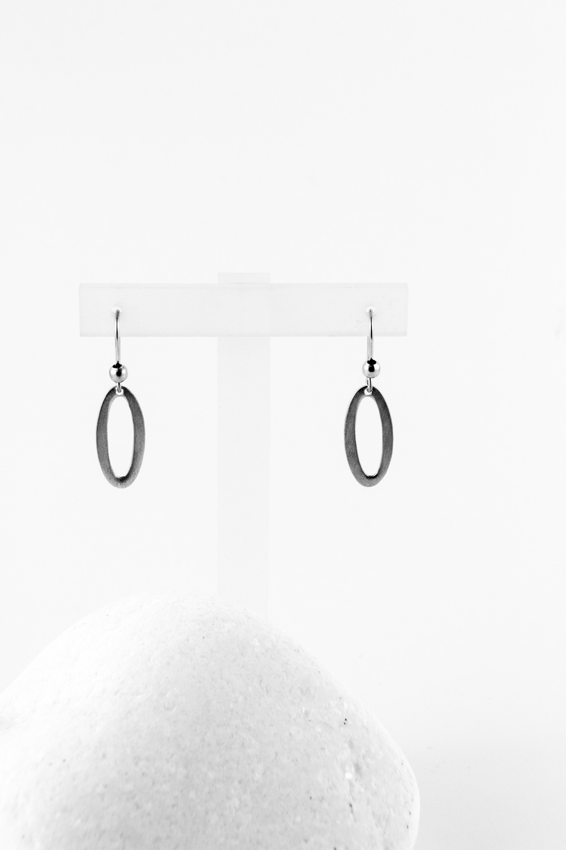 Earrings Oval, Silver