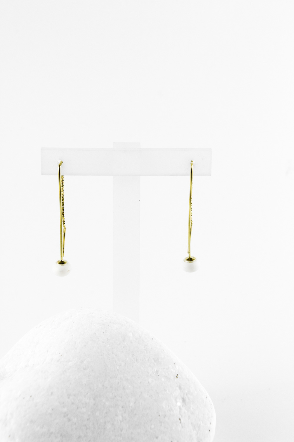 Earrings Chained Pearl, Gold
