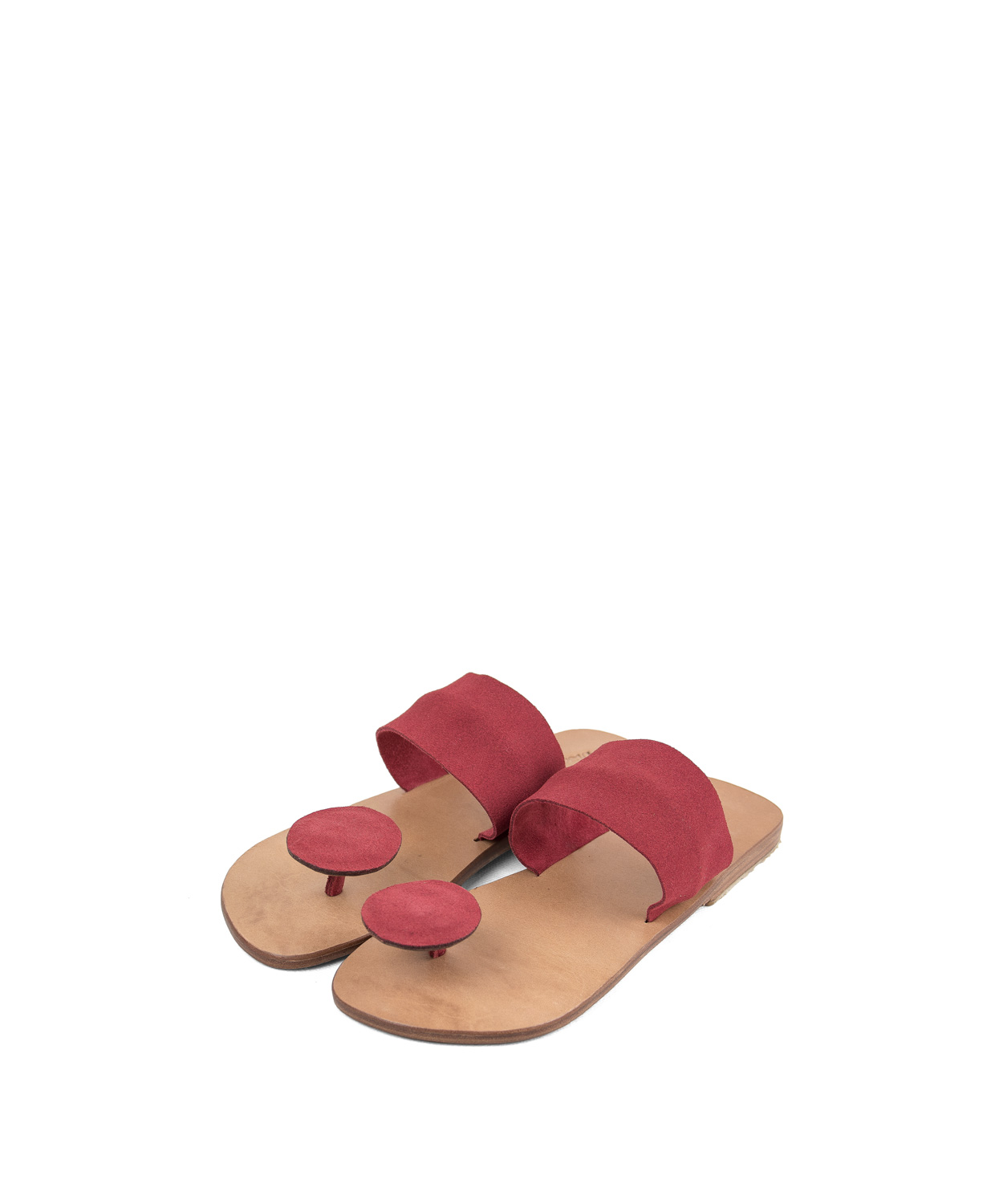 Sandals Button, Coral Red